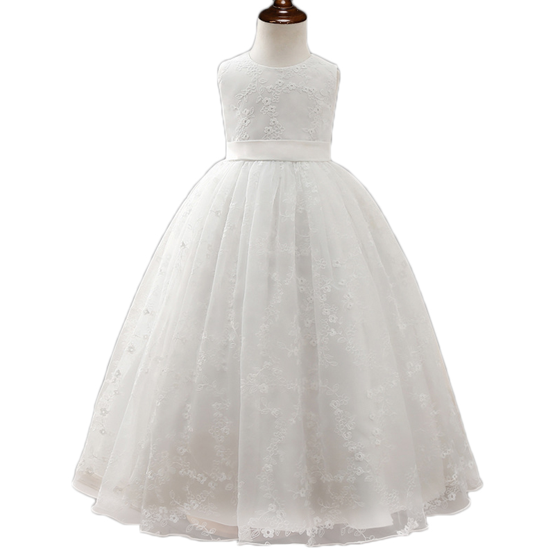 Girls long dress white flower embroidery girl Princess dresses children graduation gowns ball gowns girls vestido de festa
