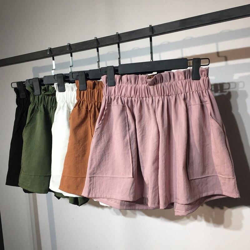 2018 New Summer Fashion Elastic High Waist Cotton Linen Shorts Women Loose Wide Leg shorts Solid Casual Thin Female Shorts Mw297 Шорты