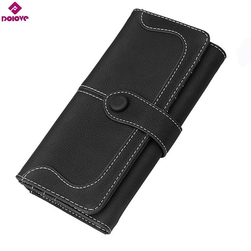 DOLOVE 2017 Ladies Long Zipper Purse Card Holder Clutch Bag Women Wallets Fashion Pumping Multi-card Position Two Fold Wallet