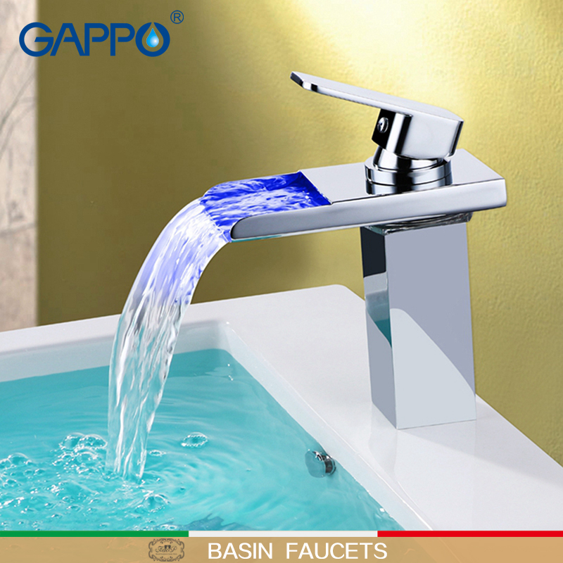 GAPPO Basin Faucet Brass waterfall shower tap waterfall LED basin mixer Stainless spout bathroom taps faucet led bathroom faucet