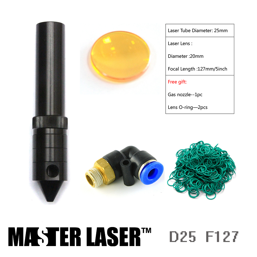Laser Head Tube 25mm Focal Length 127mm for CO2 Laser Cutting Head CNC Cutting Head Laser Cutting Machine CO2 Engraving Machine