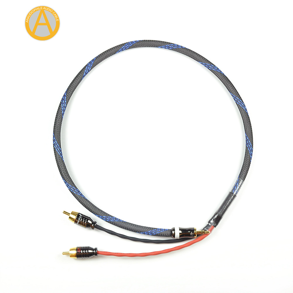 ANAUDIOPHILE HRC01 <font><b>3.5mm</b></font> <font><b>Jack</b></font> To <font><b>RCA</b></font> Cable CANARE Headphone <font><b>Jack</b></font> To Stereo <font><b>RCA</b></font> Audio Cable <font><b>4</b></font> Mobile Phone Music Player Amplifier image