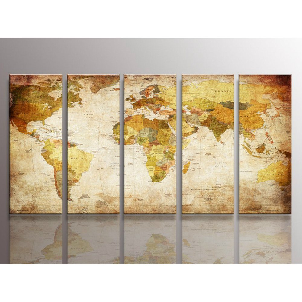 Antiquated World Map Wall Art Canvas Prints Art Paintings for Living ...