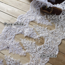 3Y-6Yards/Lot  Refined Luxury with Continental Car Bone Sequined Lace Wedding Dress Accessories Lace Trim RS99