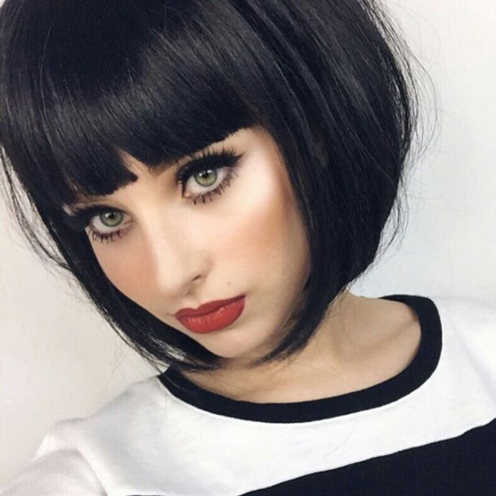 AISI HAIR SyntheticWig 12 inch Black Bob Short Black Wigs For Women With Bangs Hairs Heat Resistant Fiber can be Curled