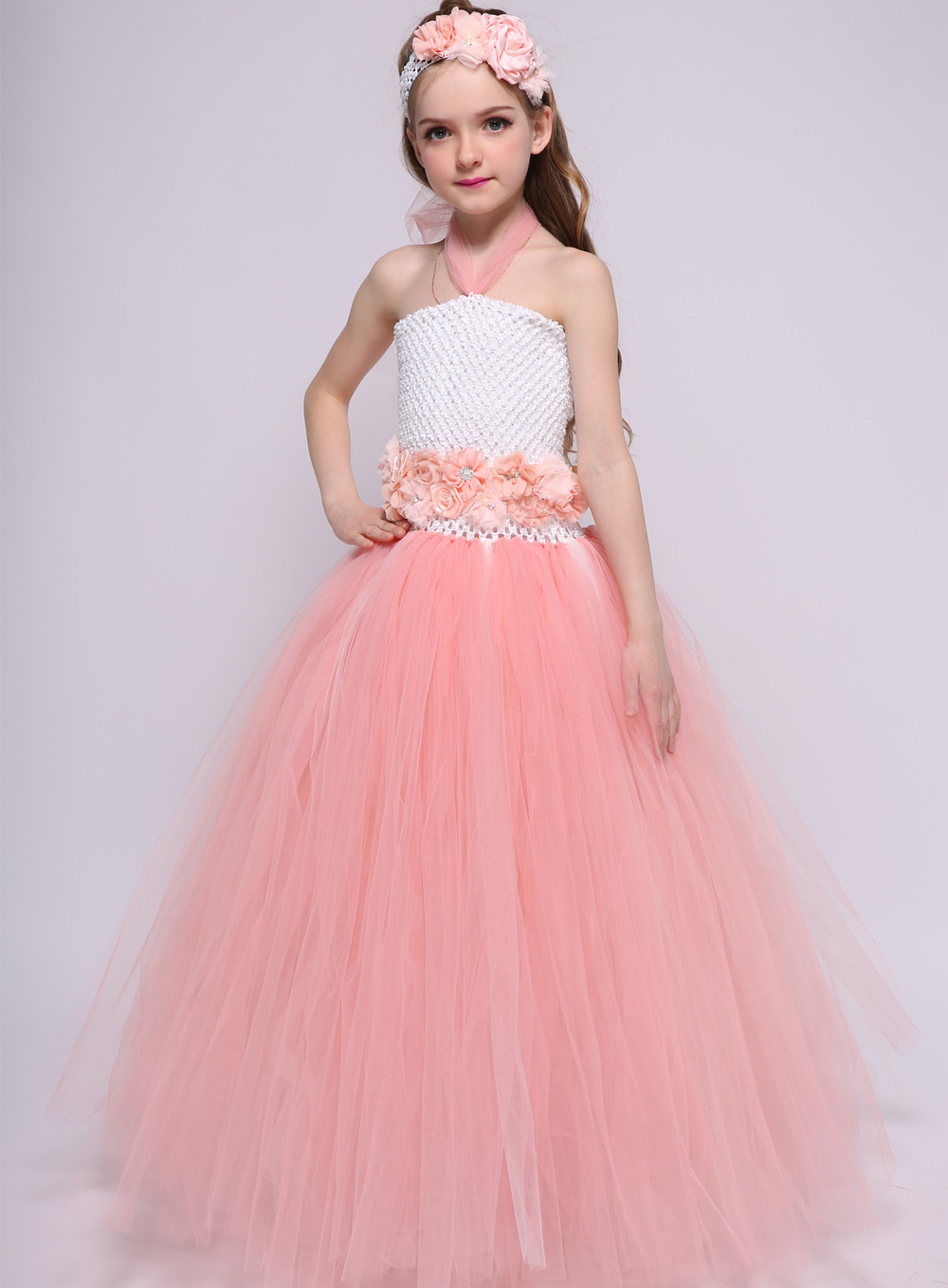 Christmas Dresses for Girs kids Tulle Lace Wedding Dress Girls Princess Tutu Dress Flower Girl Dress Carnival Party Events Wear
