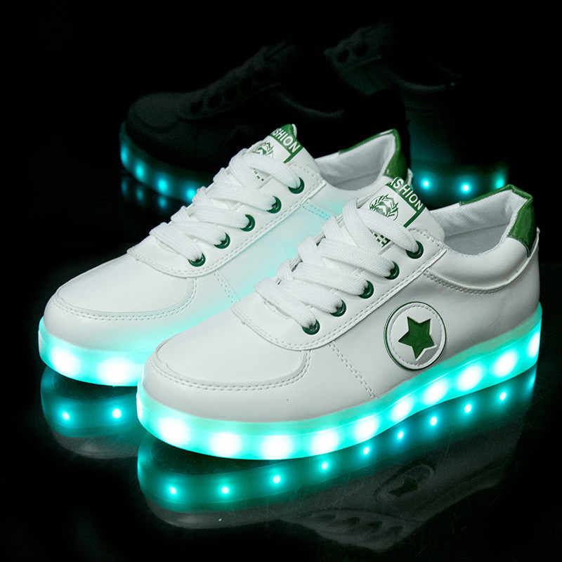 f26f56b9dd Children Shoes Kid Sneakers Luminous Lighted Colorful LED lights Casual  Flat Adults Men Women Boys girl USB Charge Glowing Shoes