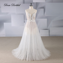 Rosabridal A line wedding dress deep V-neck Illusion lace appliques with butterfly beading in front body open back bridal gown