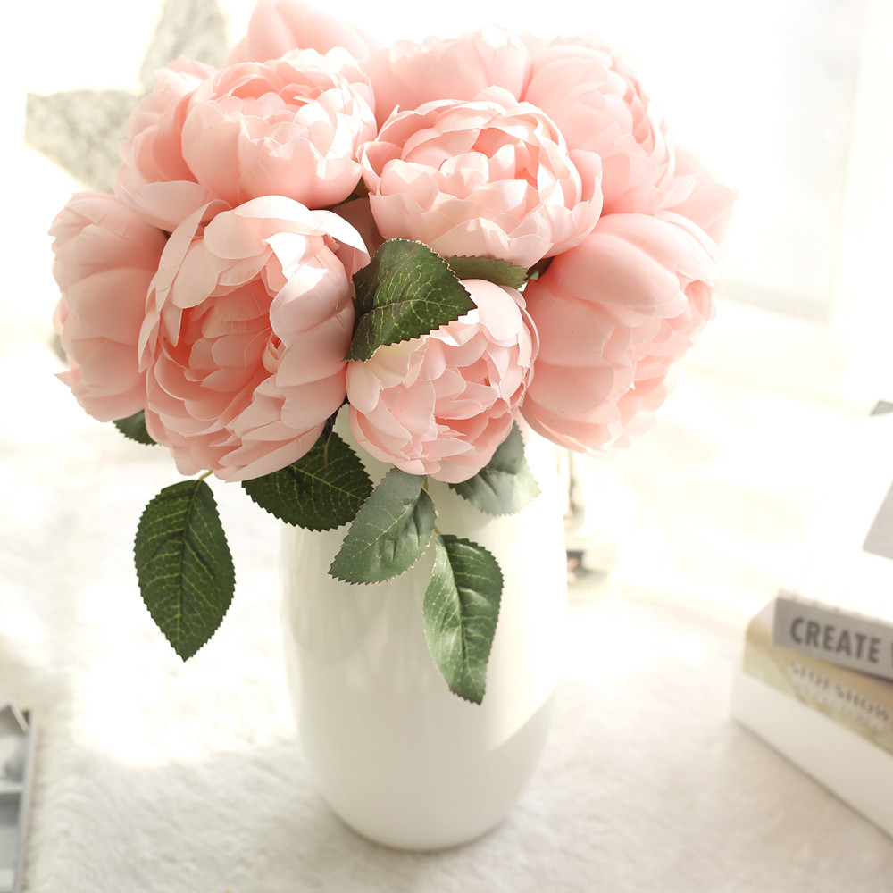 1 Bouquet 6 Heads Artificial flowers Peony Vivid flower artificiales Fake Silk Rose Bridal Wedding decor wreath gland home