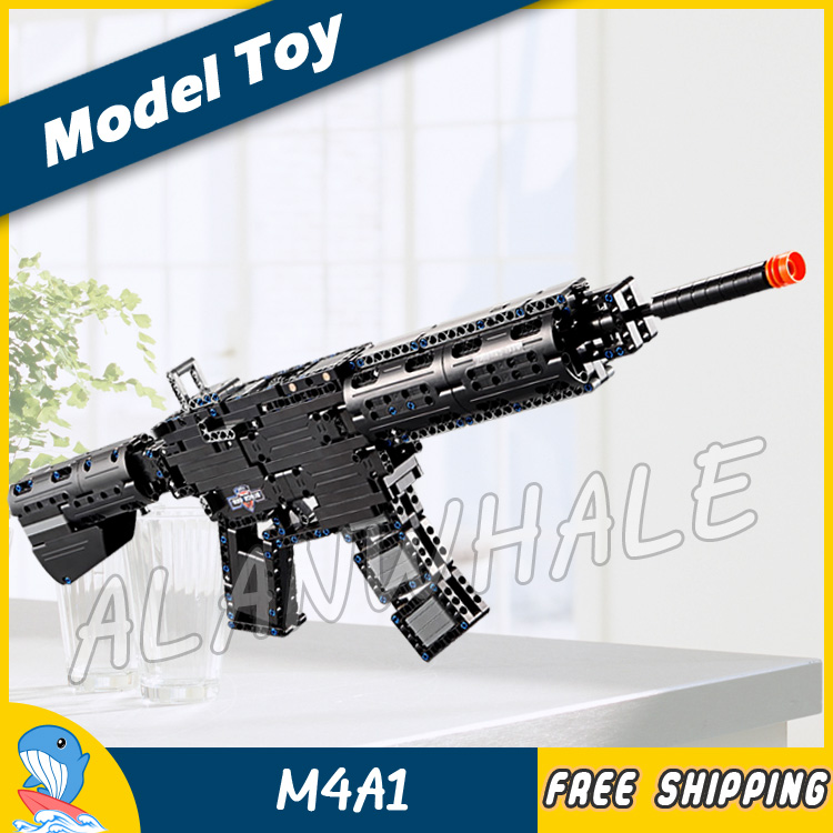 621PCS Model M4A1 Shot Gun Weapon For Military Assault Soldier CS GO Elastic Bullet Plastic Gear Shifting Compitable with Lego