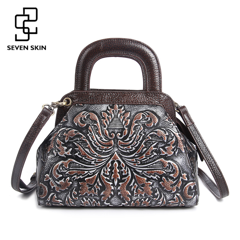 2017 Vintage Design Women Bag Retro Genuine Leather Handbag Small Luxury Handags Embossed Flower Female Shoulder Bag sac a main
