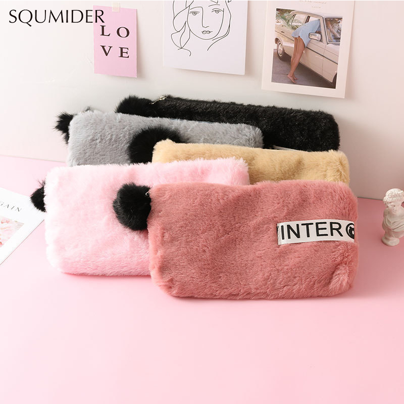 5 Colours Cute Soft Plush Pencil Case For Girls Kawaii Hairball Pen Bag Box Stationery Pouch Gift School Supplies For Girls