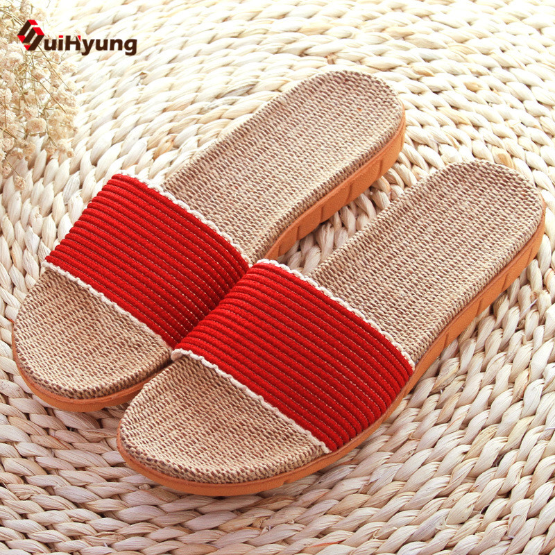 Suihyung Summer New Women's Home Linen Slippers Heavy-bottomed Non-slip Indoor Slipper Sandals Beach Slippers suihyung design new women and men summer flat shoes hit color breathable hollow beach slippers flips non slip unisex sandals