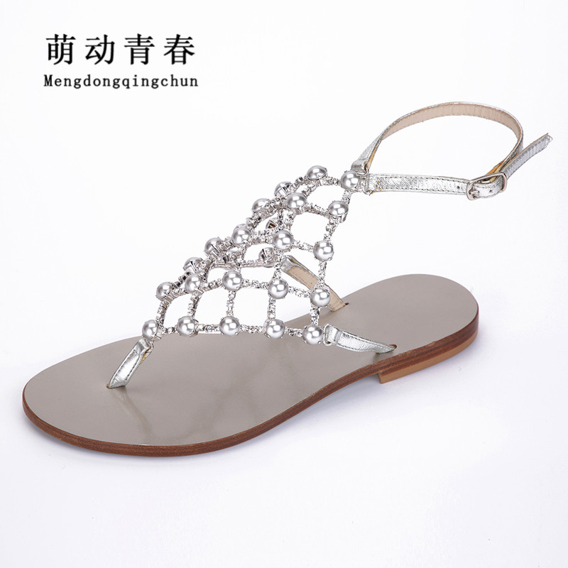 2018 New Women Sandals Fashion Flat Shoes Women Buckle Strap Crystal Pearl Flat Heel Sandals Casual Large size Summer Sandals new fashion silver tone chain trim flat sandals flat heel black white metal leather ankle sandals for women free shipping