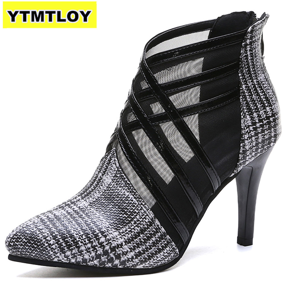 Summer Mesh Peep Toe Sandals Sexy Heels Single Shoes Women In Europe And America 2019 Spring Gauze Mujer High  Pointed Toe