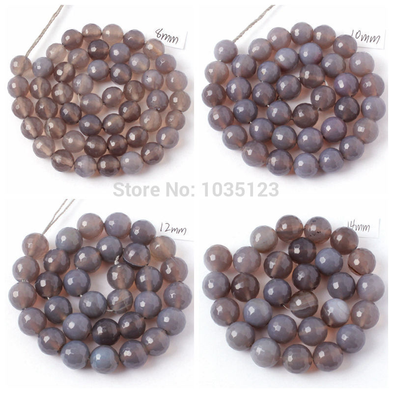 High Quality Natural Faceted Round Gray Agates Onyx 4/6/8/10/12/14mm Gems Loose Beads Strand 15 Inch  Jewellery Making wj58