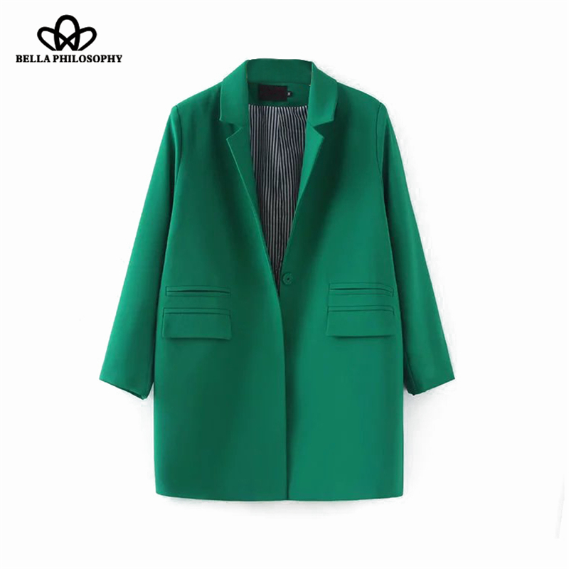 Bella Philosophy 2019 Autumn Women Plus Size Long Jacket Double Pockets Long Jacket Coat S-XXXL Outwears