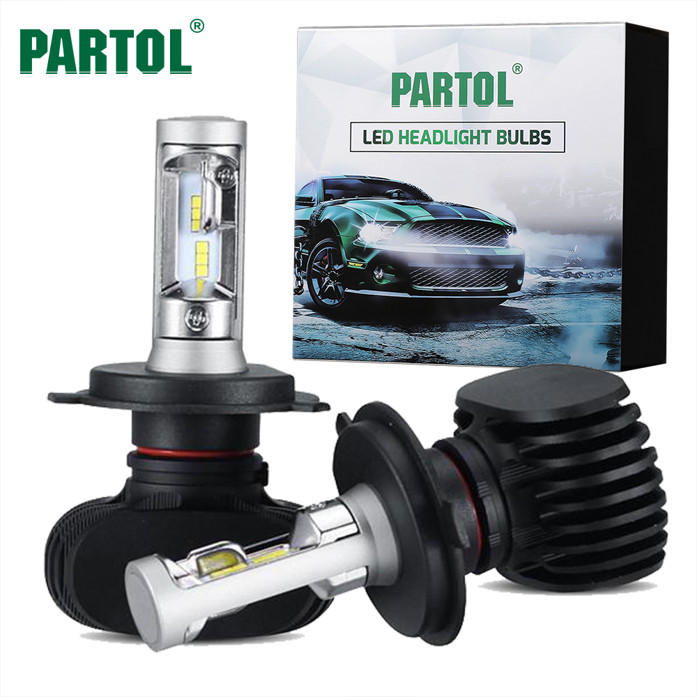Partol 50W 8000LM H4 H13 H7 H11 9005 9006 Car LED Headlight Bulbs CSP Chips LED Headlights Automobile Headlamp Front Light 6500K