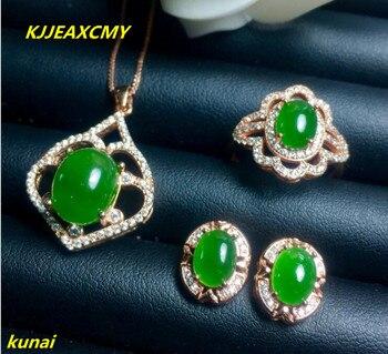 ecd4560be545 Kjjeaxcmy boutique joyas plata pura 925 incrustaciones de jaspe natural  femenina anillo colgante pendientes 3 unidades de regalo de la joyería neckl