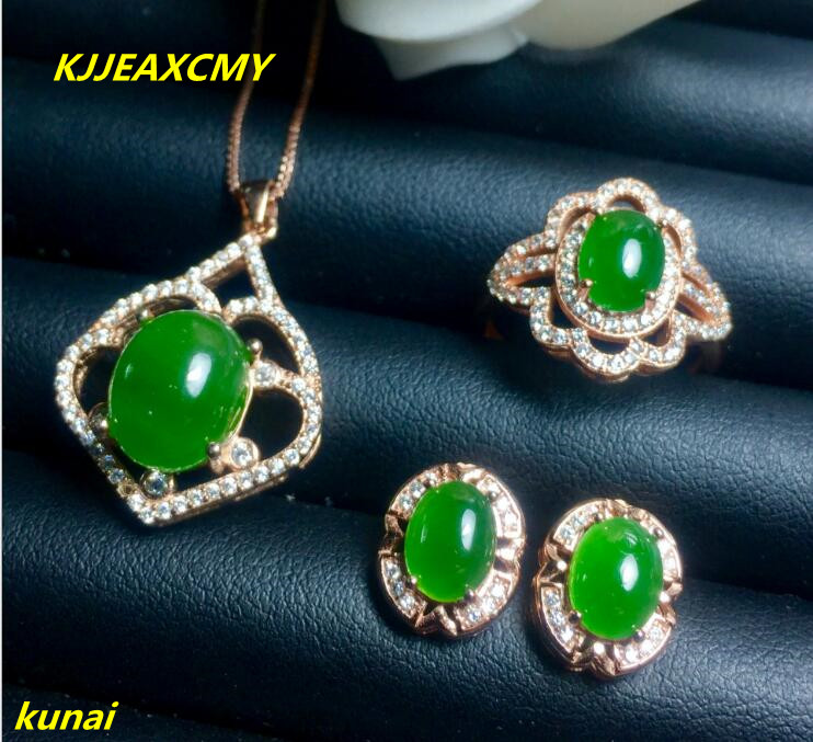 KJJEAXCMY boutique jewels 925 pure silver inlaid with natural jasper female pendant ring earrings 3 pieces of jewelry gift neckl