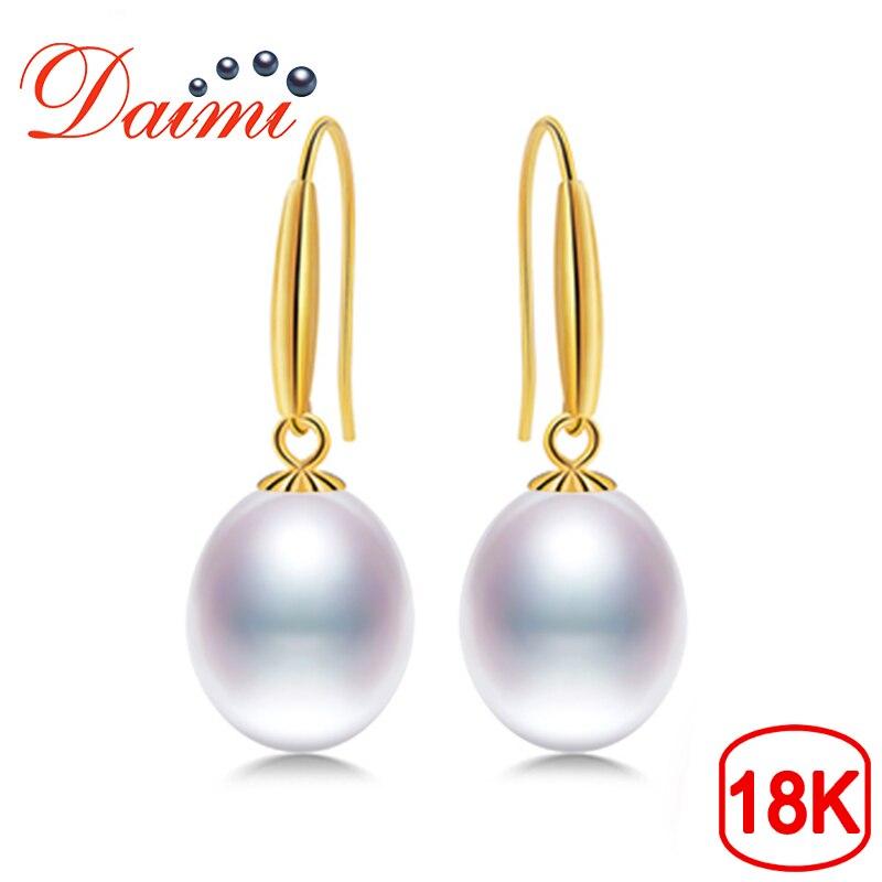 DAIMI 18k Gold Hook Earrings 8-9mm Freshwater Pearl Earrings High Quality Brand Jewelry For Women gold earrings for women