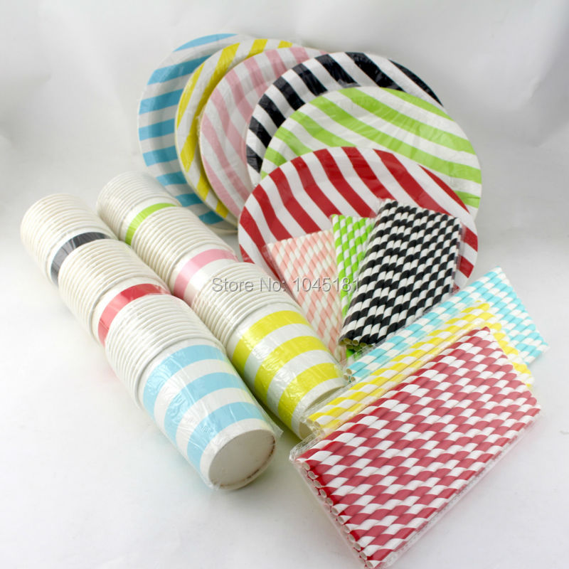 Wedding Table Decoration Dining Set Mixed Colors Paper Plates Paper Cups Paper Straws Chevron Striped Dot Kids Birthday Supplies