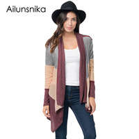 Ailunsnika 2017 Autumn Hot Sale Women Wine Shawl Neck Colorblock Long Sleev Casual Open Stitch Sweaters