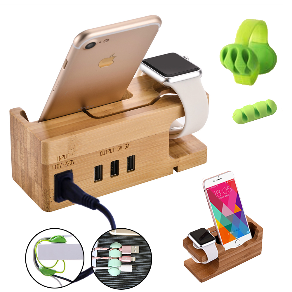 Charging station USB charger 3 ports charging dock for iphone X apple watch xiaomi redmi bamboo wood multi charging stand S9S8S6 in Mobile Phone Chargers from Cellphones Telecommunications