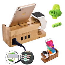 Charging station USB charger 3 ports charging dock for iphone X apple watch xiaomi redmi bamboo wood multi charging stand S9S8S6 цена