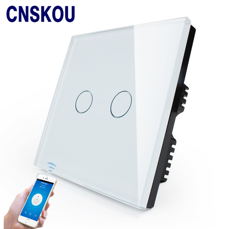 Cnskou Manufacturer Wifi Touch Switch, LED Light Wall Smart Home Remote Control UK Switch,2 Gang 1 Way Luxury Glass Panel uk 1gang dimmer led touch switches black crystal glass panel light wall switch remote smart home 220v 110v free shipping