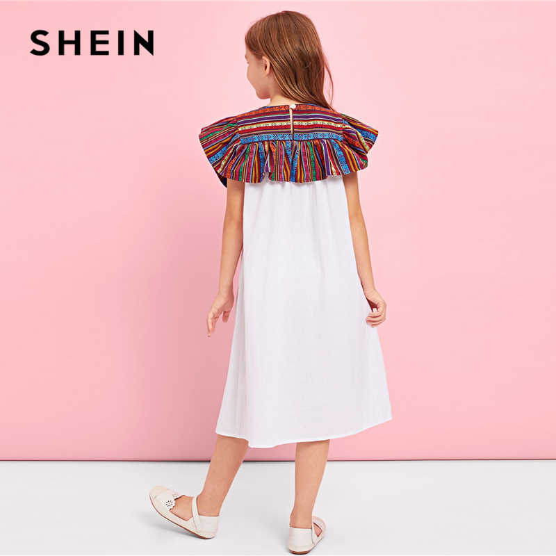 119c4d2e98e85 SHEIN Kiddie White Keyhole Back Contrast Button Teenage Girl Party Long  Dress 2019 Summer Sleeveless Shift Trapeze Girls Dresses