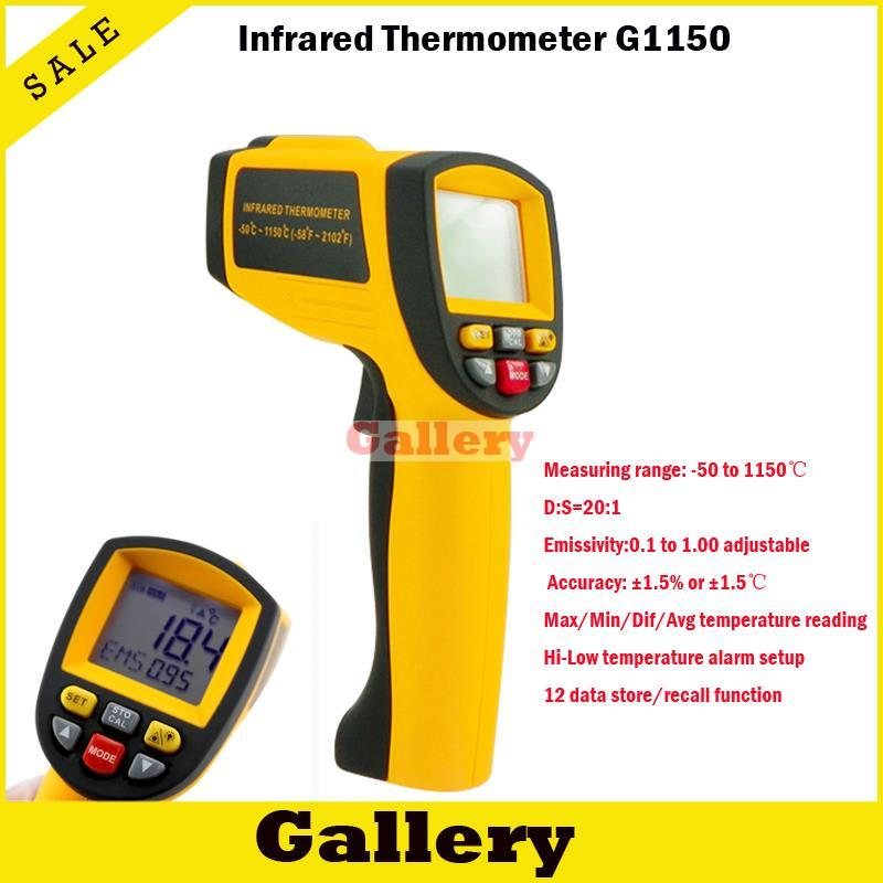 2015 Non-contact 12:1 Lcd Display Ir Infrared Digital Temperature Gun Thermometer 0.1~1.00 Adjustable Multifunctional Measuring gm1150 non contact 12 1 lcd display ir infrared digital temperature gun thermometer 50 1150c 58 2102f 0 1 1 00 adjustable
