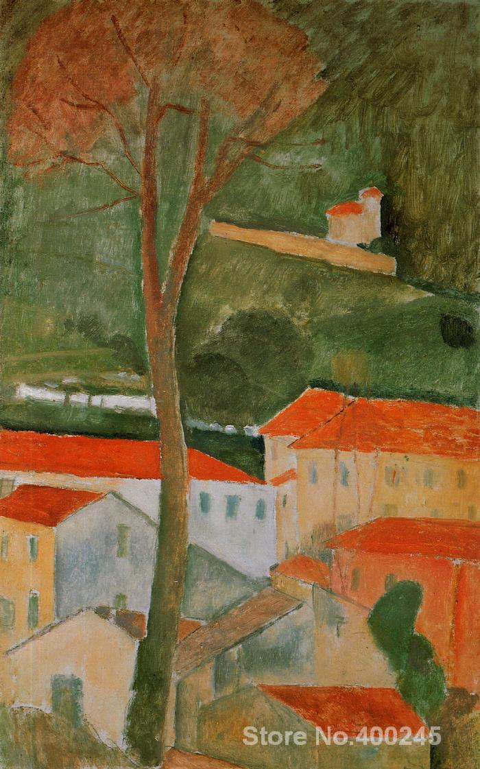 Christmas Gift art on Canvas Landscape by Amedeo Modigliani Painting High Quality Handmade