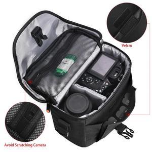 Image 5 - FOSOTO DSLR kamera çantası moda Polyester omuz çantası su geçirmez kamera çantası Canon Nikon Sony için Lens kılıfı çanta fotoğraf Video çanta