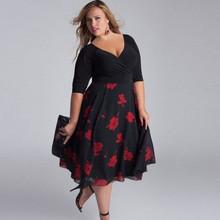 Plus Size L 5XL 6XL 7XL 8XL 2019 New Fashion Ruffle V Neck Casual Loose Floral