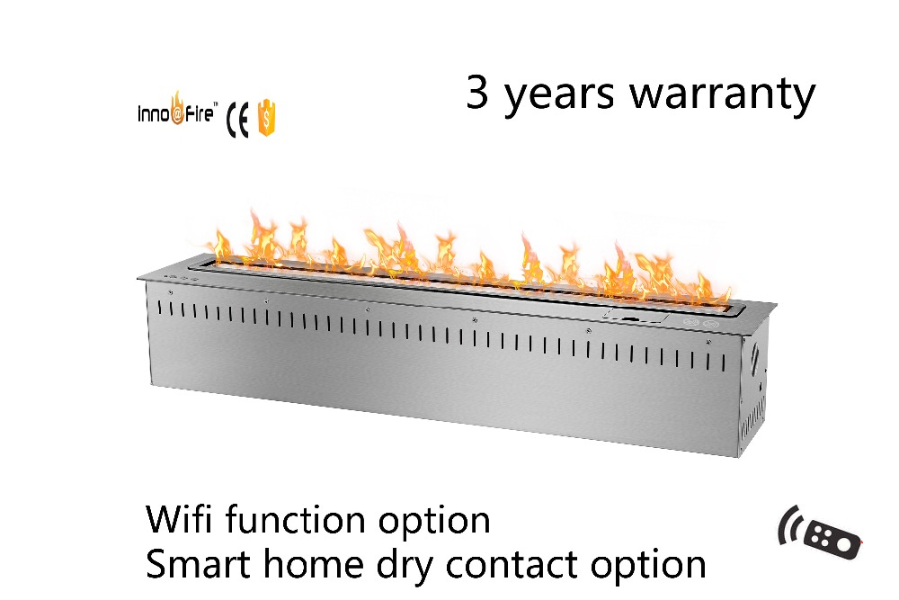 36 Inch Smart Remote Control Black  Os Silver Wifi Indoor Ethanol Chimeneas Interior Electrica