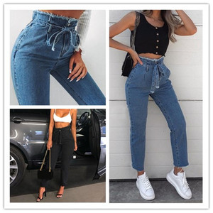 2019 Fashion Women High Waist Jeans Sexy Jeans Harem Pants High Streetwear Stretch Pants Black Jeans Women