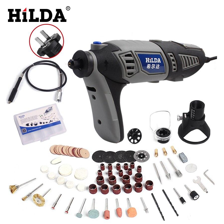 HILDA 180 Вт электрическая мини-дрель с переменной скоростью роторный инструмент для Dremel Мини электрическая шлифовальная машина Dremel аксессуар...