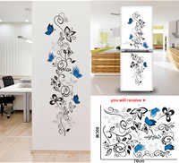Fleur vigne papillons stickers muraux salon décor maison stickers mural art pvc imprimer affiches muraux autocollant sur le réfrigérateur