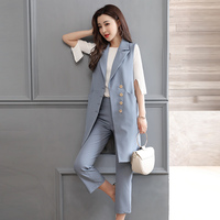 Pant Suits OL Style Sleeveless Women Sets new leisure office lady suit vest Cropped pants temperament