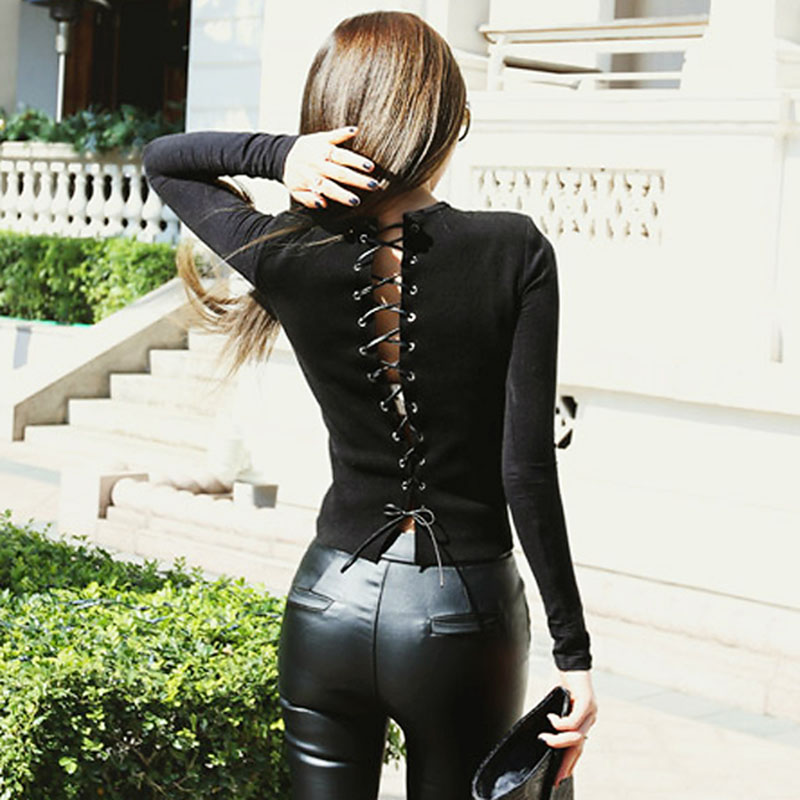Sexy Back Bandage tight Black Long Sleeve Women Blouse Shirts Slim Hollow Out Backless Bodycon Casual Lace up Blouses Female
