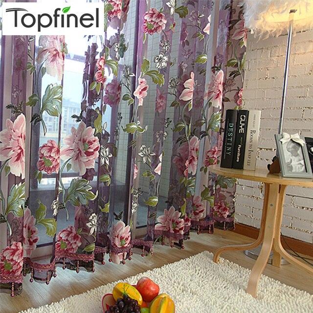 Vendita calda viola floreale tulle in tende trasparenti per soggiorno camera da