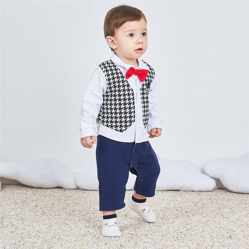 083633944e1d 2018 Baby Cotton Gentleman Tie Long Sleeve Rompers Cotton cartoon ...