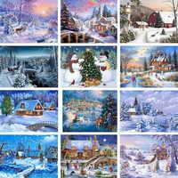 5D Volle Diy Diamant Malerei Mosaik Handgemachte Winter Landschaft Kreuz Stich Diamant Diamant Stickerei Weihnachten Decor Landschaft