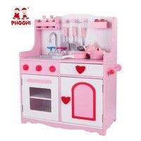 Малышей деревянная кухонная Игрушка Дети Притворяться пищевой Реквизит игры Pink игрушечная плита набор с аксессуарами PHOOHI