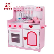 Toddler Wooden Kitchen Toy Kids Pretend Play Food Game Pink Stove Toy Set With Accessories PHOOHI mothergarden kids wood playhouse toy gas burner set stove wooden puzzle game kitchen toys page 5