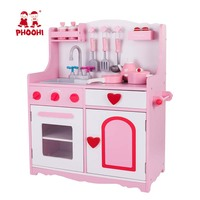 Toddler Wooden Kitchen Toy Kids Pretend Play Food Game Pink Stove Toy Set With Accessories PHOOHI
