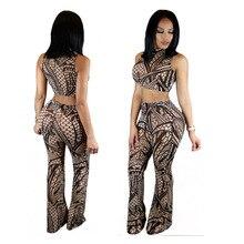 Fashion elegant jumpsuit 2016 new women autumn high quality Digital Print sleeveless skinny sexy club wear 2 piece jumpsuit