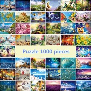 Image 2 - Dubbi kağıt bulmaca 1000 adet Noctilucent aydınlık çocuklar için yap boz eğitici oyuncaklar bulmaca oyunu yap boz