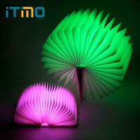 ITimo LED Book Shaped Night Light Rechargeable Book Lights USB Port Birthday Gift For Kids Home